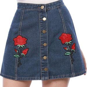 Rose boho denim button front mini skirt